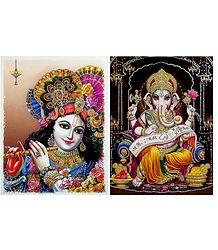 Krishna,Ganesha - Set of 2 Glitter Poster