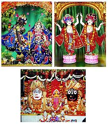 Jagannath Balaram Subhadra, Radha Krishna and Gaur Nitai - Set of 3 Photo Print