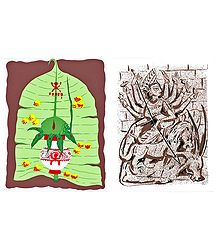 Durga and Mangal Kalash on Banana Leaf - 2 Small Posters