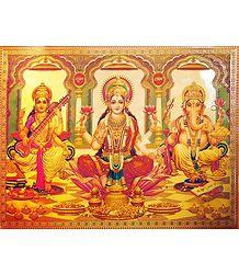 Lakshmi,Saraswati,Ganesha - Golden Metallic Poster