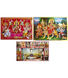 Mahakaleshwar, Lakshmi, Saraswati, Ganesha, and Vaishno Devi - Set of 3 Posters