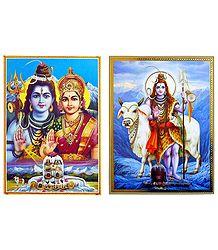 Shiva Parvati, Shiva with Bull - Set of 2 Posters