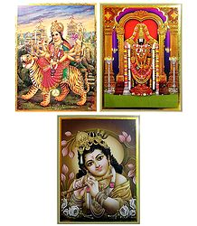 Lord Venkateshwara,Krishna,Vaishno Devi - Set of 3 Posters