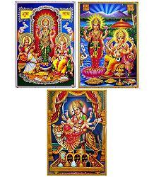 Lakshmi, Saraswati, Ganesha and Vaishno Devi - Set of 3 Posters