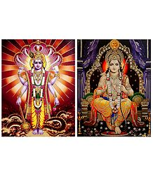 Vishnu and Rama - Set of 2 Glitter Poster