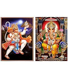 Ganesha,and Hanuman - Set of 2 Glitter Posters