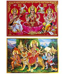 Lakshmi, Saraswati, Ganesha and Vaishno Devi - Set of 2 Posters