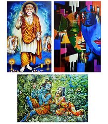 Shirdi Sai Baba and Radha Krishna - Set of 3 Posters