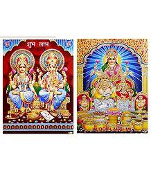 Lakshmi, Ganesha and Kubera - Unframed 2 Glitter Poster