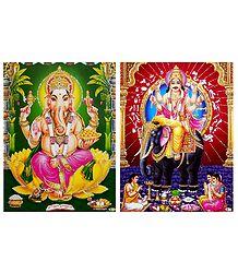 Ganesha and Vishwakarma - Unframed 2 Glitter Poster