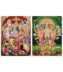 Ram Darbar, Panchamukhi Hanuman - Unframed 2 Glitter Poster