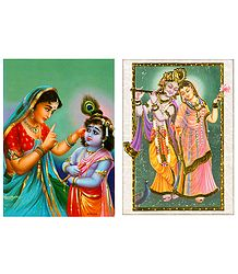 Yashoda Krishna and Radha Krishna - Set of 2 Small Posters