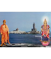 Kanyakumari and Vivekananda with Vivekananda Rock Memorial and Thiruvalluvar Statue as Backdrop - Poster with Plastic Lamination