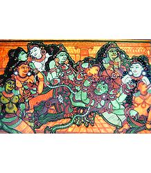 Krishna with Radha and other Gopinis - Mural Poster