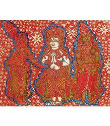 Krishna, Balaram and Rukmini - Mural Poster