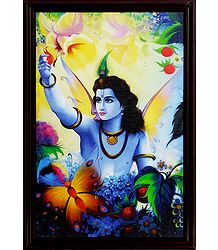 Lord Krishna Picture on Laminated Board
