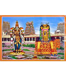 Devi Meenakshi and Lord Sundareswarar- Laminated Poster