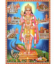 Lord Murugan with His Places of Worship - Poster