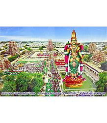 Aerial View of Sri Meenakshi Temple - Laminated Poster