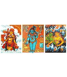 Mohini, Bal Gopal and Mermaids - Set of 3 Mural Posters - Unframed