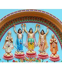 Pancha Gosain - Gaur, Nitai, Advaita Acharya, Roop and Sanatan