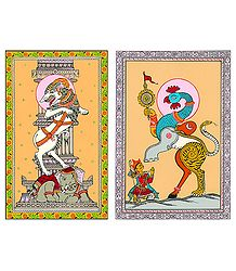 Gajasingha Bidala and Naba Gunjara - 2 Patachitra Posters - Unframed