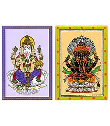Lord Ganesha - 2 Patachitra Posters - Unframed