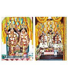 Gaur, Nitai and Gaurangadev with His Consorts