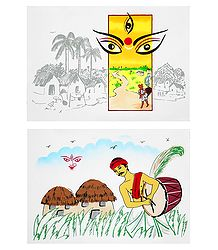 Goddess Durga - Set of 2 Small Poster