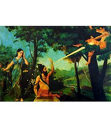 Lord Shiva's Anger Burning Kamadeva as Rati Looks on - Ravi Varma Reprint