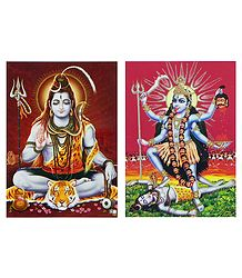 Shiva and Kali - 2 Glitter Posters