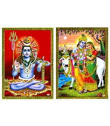 Shiva and Radha Krishna - Set of 2 Posters
