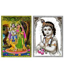 Radha Krishna and Krishna - Set of 2 Posters