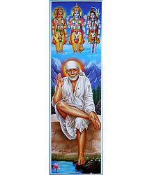 Shirdi Sai Baba with Brahma, Vishnu, Shiva