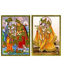 Vishnu Lakshmi and Radha Krishna - Set of 2 Posters