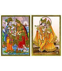 Vishnu Lakshmi and Radha Krishna - Set of 2 Posters