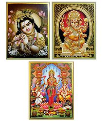 Lakshmi, Saraswati, Ganesha and Krishna - Set of 3 Posters