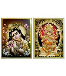 Krishna and Ganesha - Set of 2 Posters