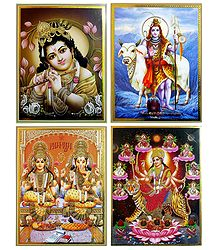Lakshmi, Ganesha, Navadurga, Shiva and Krishna - Set of 4 Posters