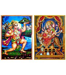 Vaishno Devi, Hanuman - Set of 2 Posters