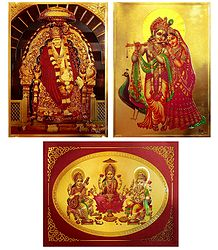 Lakshmi,Saraswati,Ganesha and Radha Krishna and Shirdi Sai Baba - Set of 3 Golden Metallic Paper Poster
