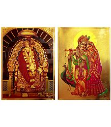 Radha Krishna and Shirdi Sai Baba - Set of 2 Golden Metallic Paper Poster