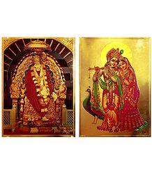 Radha Krishna and Shirdi Sai Baba - Set of 2 Golden Metallic Paper Poster