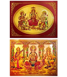 Lakshmi,Saraswati,Ganesha - Set of 2 Golden Metallic Paper Poster