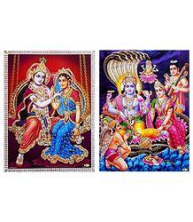 Radha Krishna and Lakshmi Narayan - Unframed 2 Glitter Poster