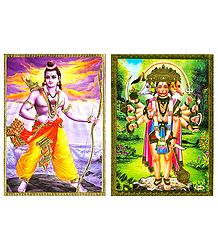 Lord Rama and Panchamukhi Hanuman - Set of 2 Posters
