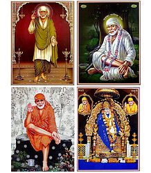 Shirdi Sai Baba - Set of 4 Glitter Posters