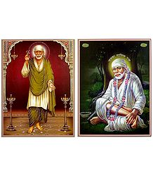 Shirdi Sai Baba - Set of 2 Glitter Posters