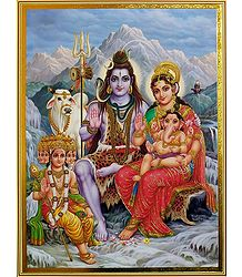 Shiva Parvati with Ganesha and Kartik - Unframed Poster