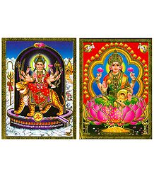 Goddess Lakshmi and Sherawali Mata - Set of 2 Posters